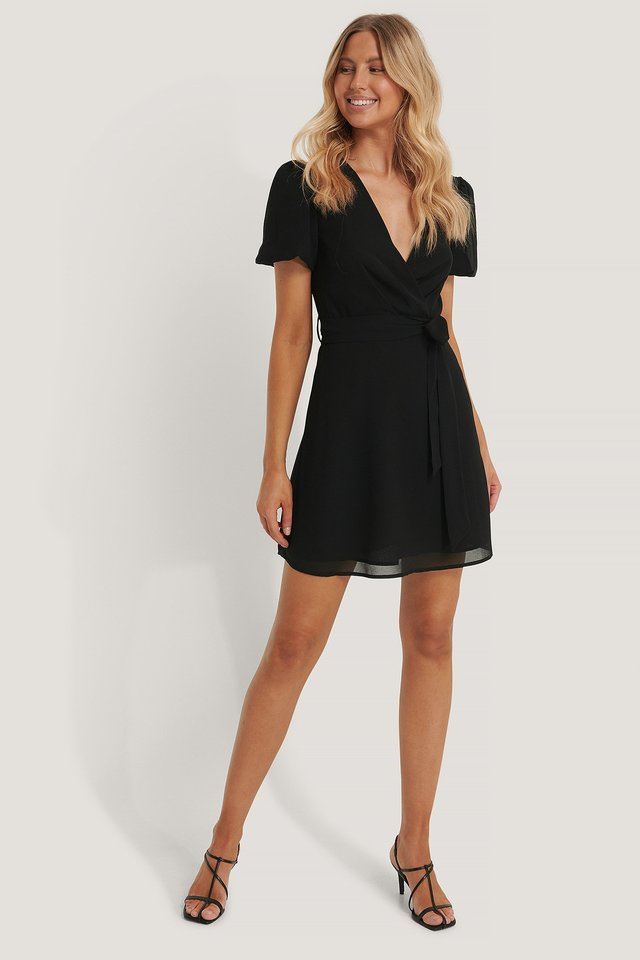 Black Tie Waist Chiffon Dress