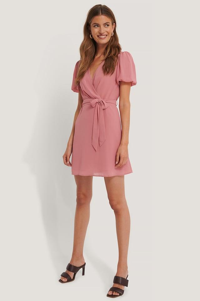 Vestido De Gasa Con Anudado En Cintura Dark Dusty Pink