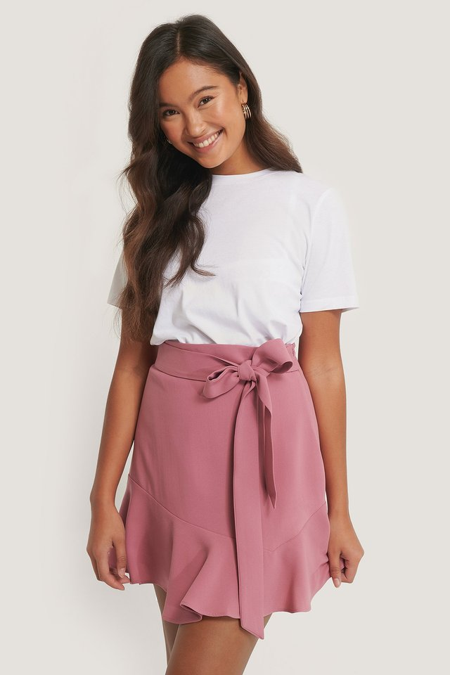 Tie Waist Flounce Skirt Dusty Pink