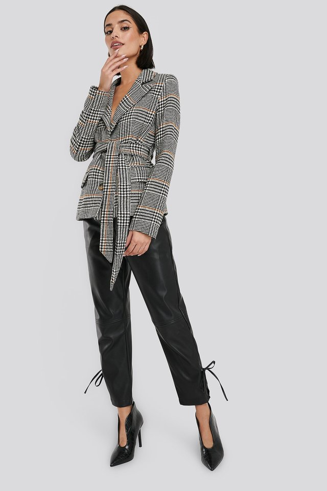 Tie Waist Herringbone Blazer Black/White Check