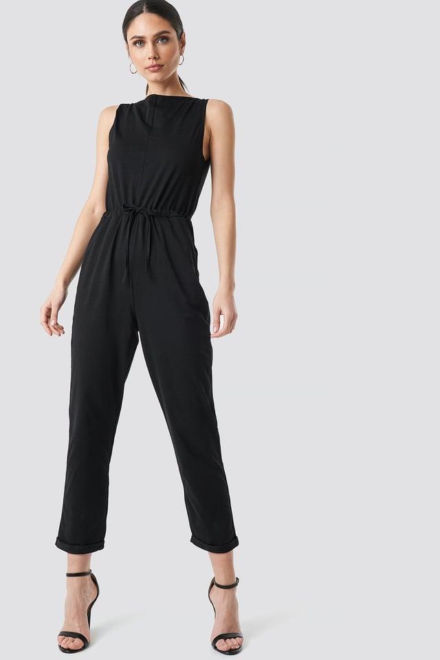 Tie Waist Jersey Jumpsuit Black