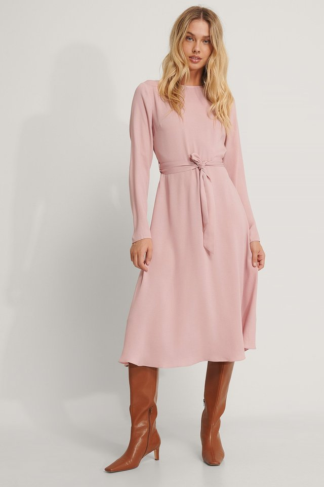 Tie Waist LS Midi Dress Dusty Pink