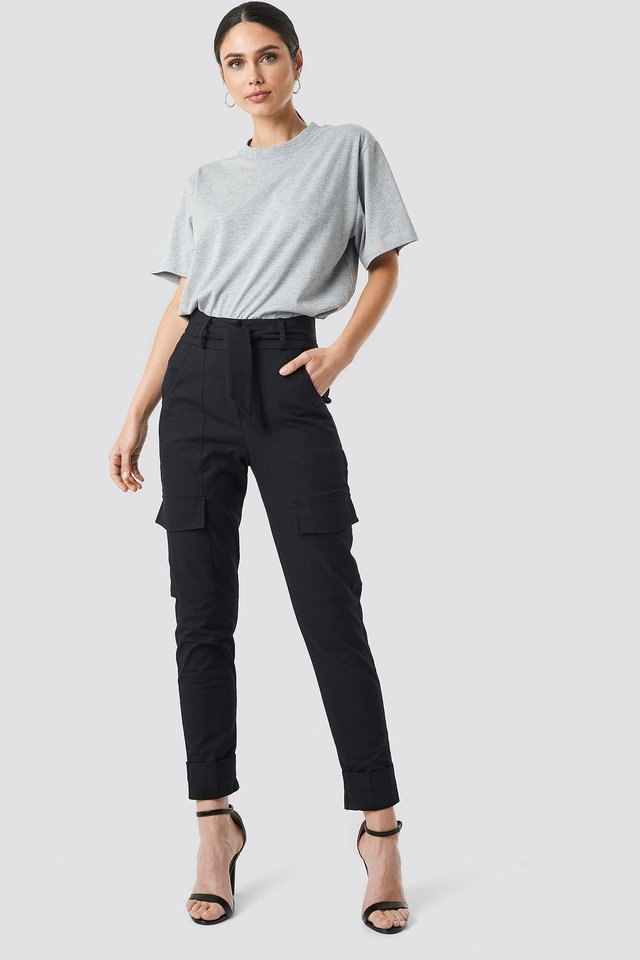 Tie Waist Patch Pocket Pants Black