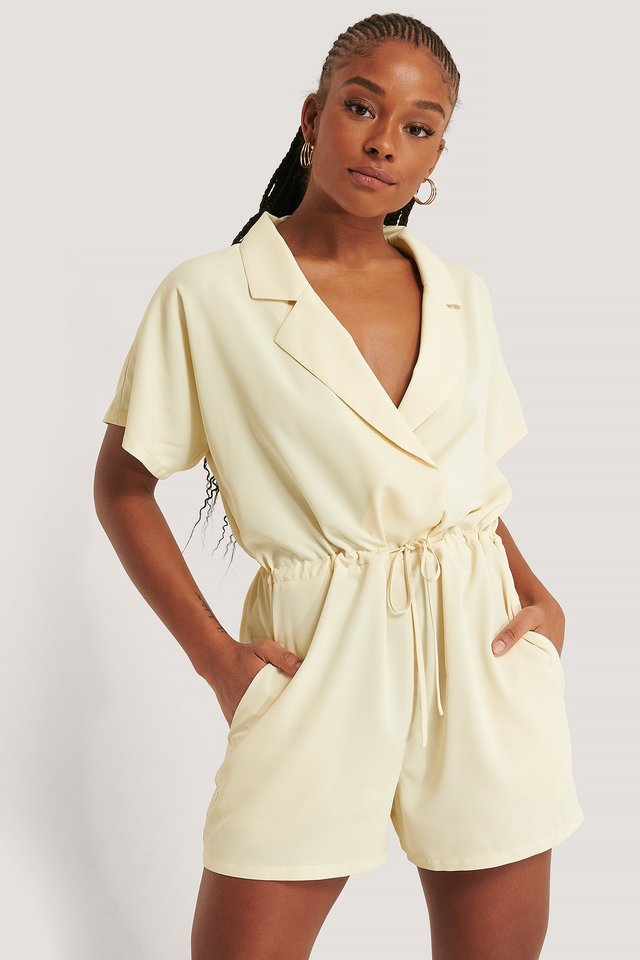 Tie Waist Playsuit Cream