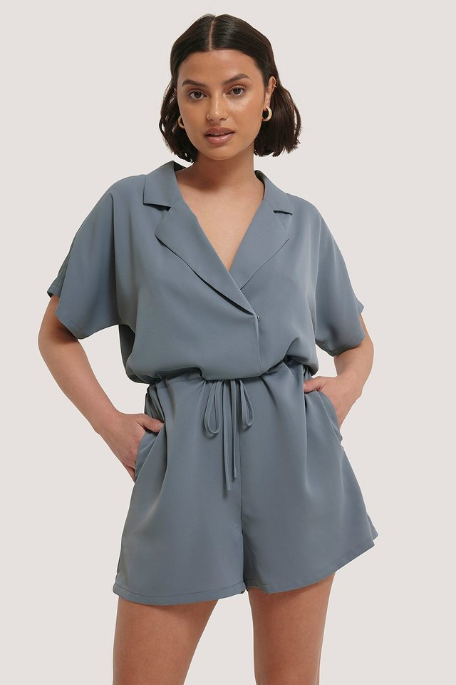 Tie Waist Playsuit Stone Blue