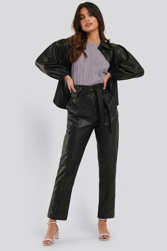 Tie Waist PU Pants Black