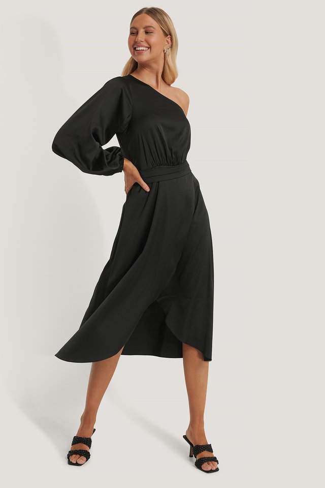 Tie Waist Satin Dress Black