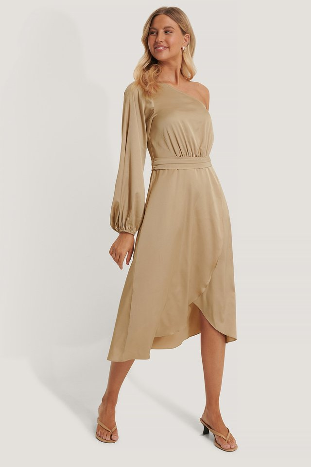 Tie Waist Satin Dress Beige