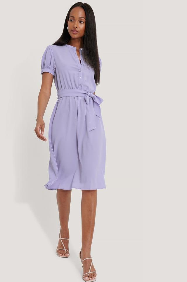 Vestido Con Manga Corta Globo Y Cordón En Cintura Lavender