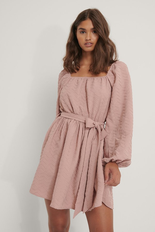 Dusty Pink Tie Waist Structured LS Mini Dress