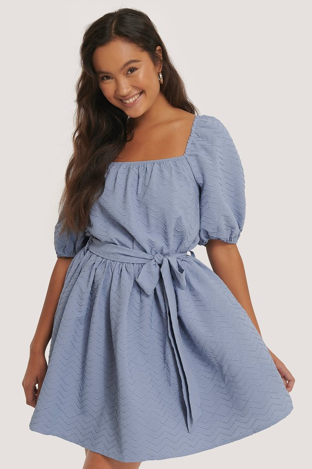 Tie Waist Structured Mini Dress Blue