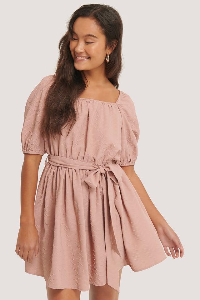 Tie Waist Structured Mini Dress Dusty Pink