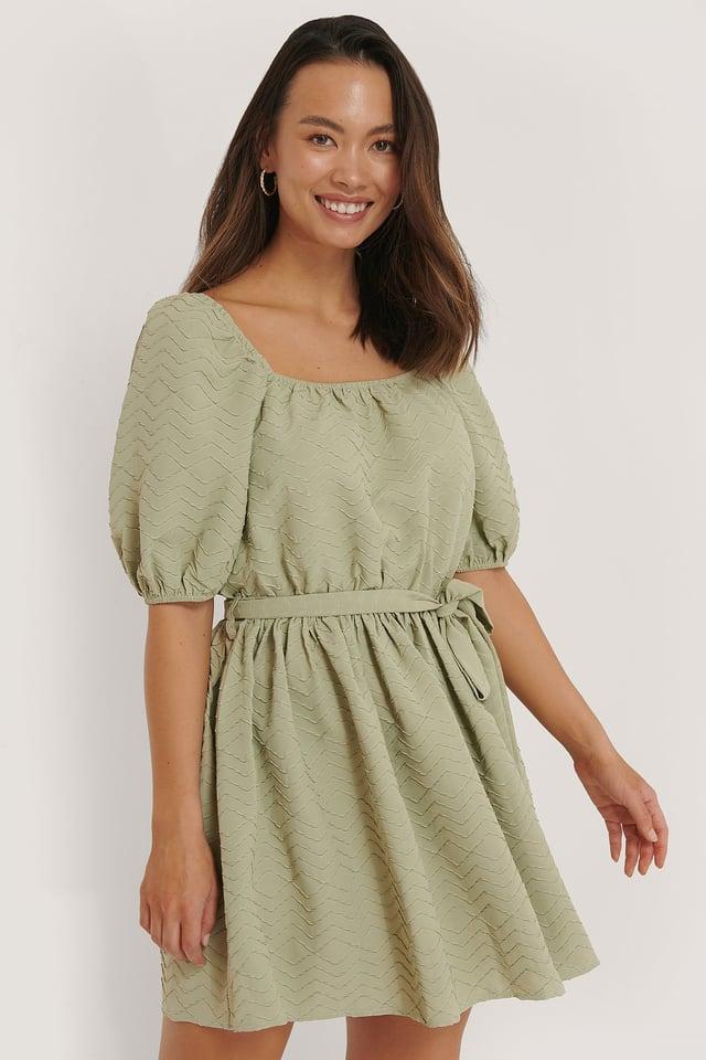 Strukturiertes Minikleid Mit Taillenschnürung Light Green
