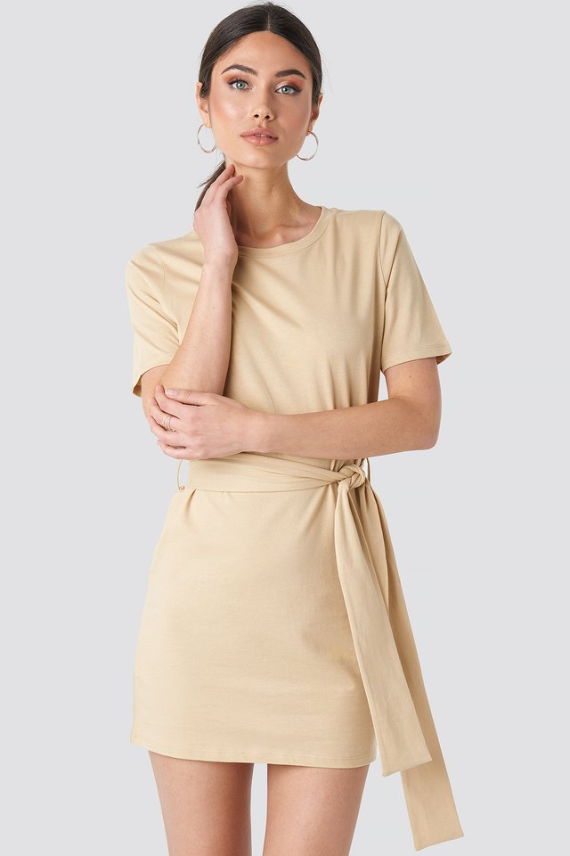 Tie Waist T-shirt Dress Beige