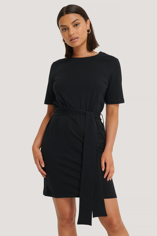 Tie Waist T-shirt Dress Deep Black
