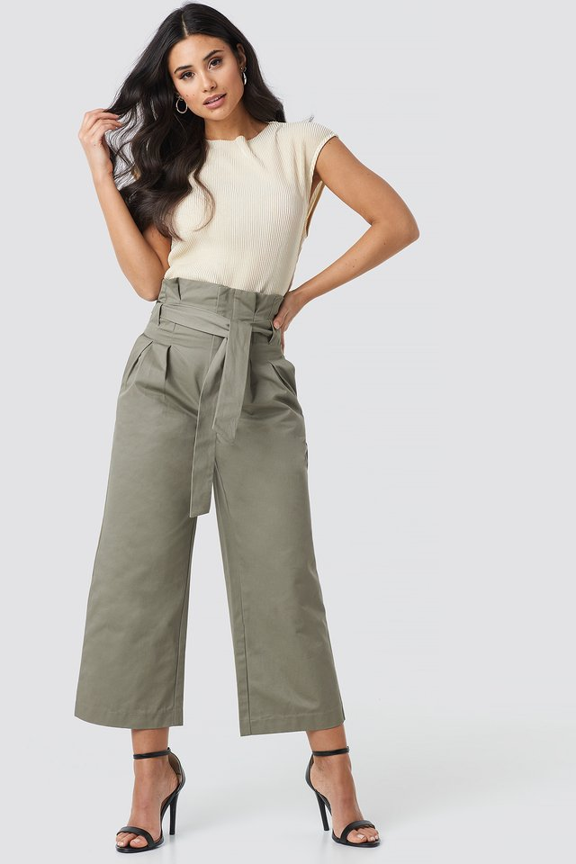 Tied Waist Wide Cotton Pants Green