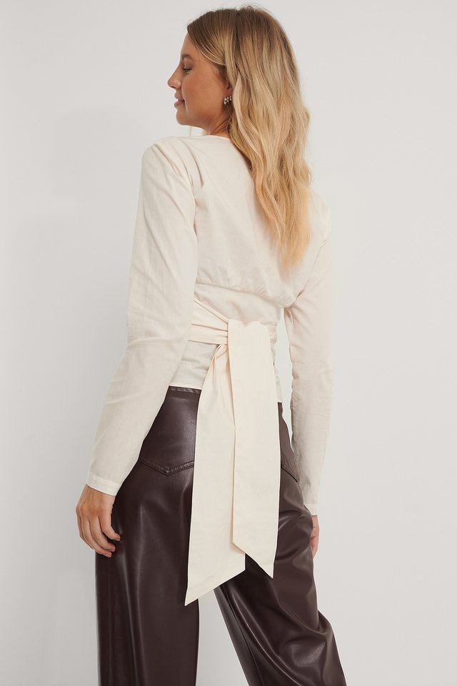 Beige Tie Waisted Blouse