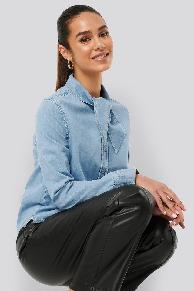 Tied Collar Denim Shirt Light Blue