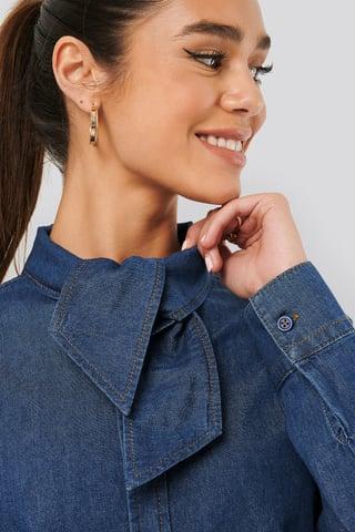Mid Blue Tied Collar Denim Shirt