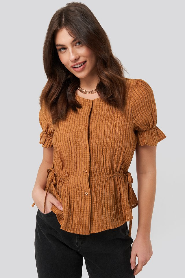 Rust Tied Detail Puff Sleeve Blouse