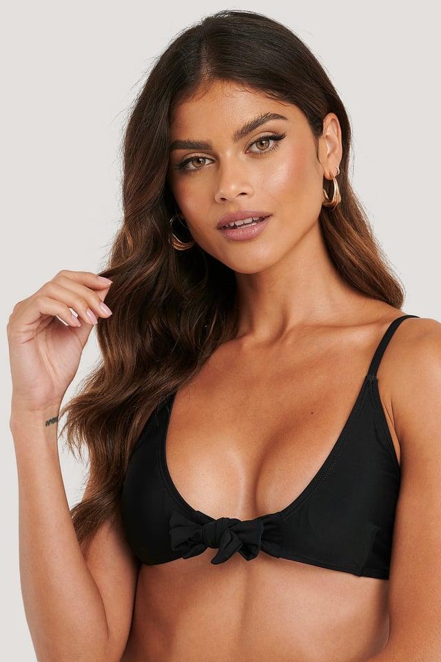 Tied Front Bikini Top Black