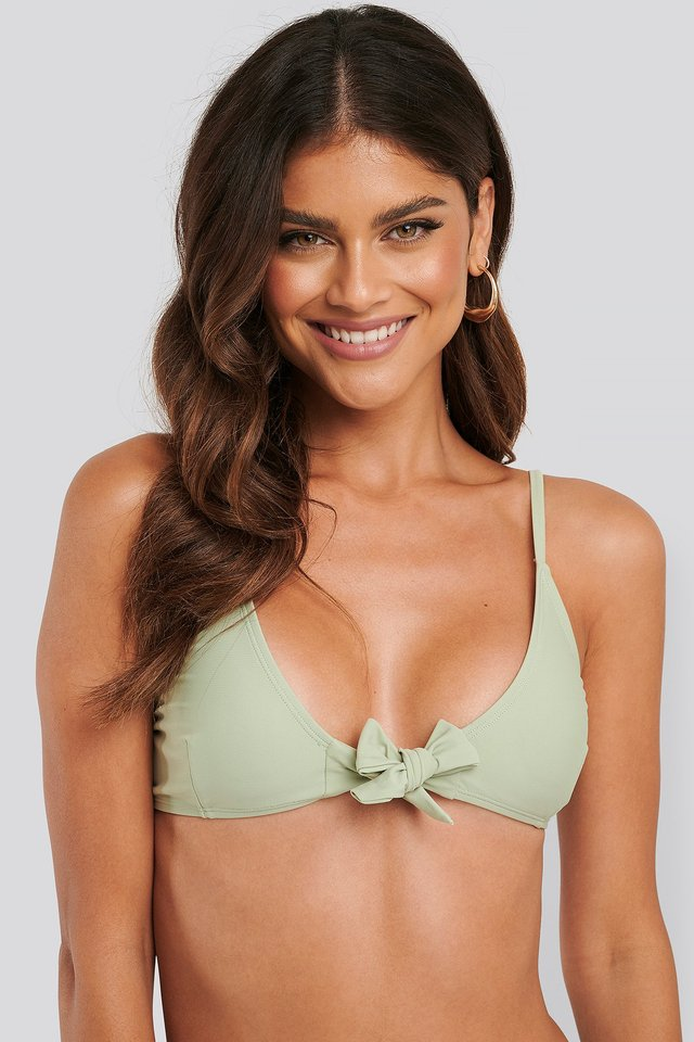 Tied Front Bikini Top Dusty Green