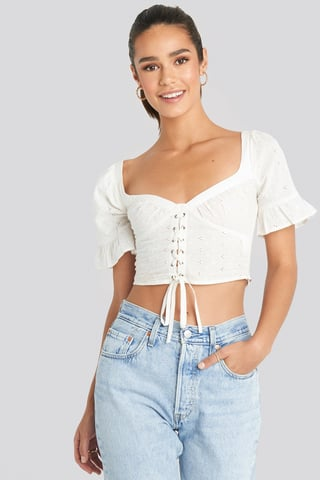 White Tied Front Frill Sleeve Top