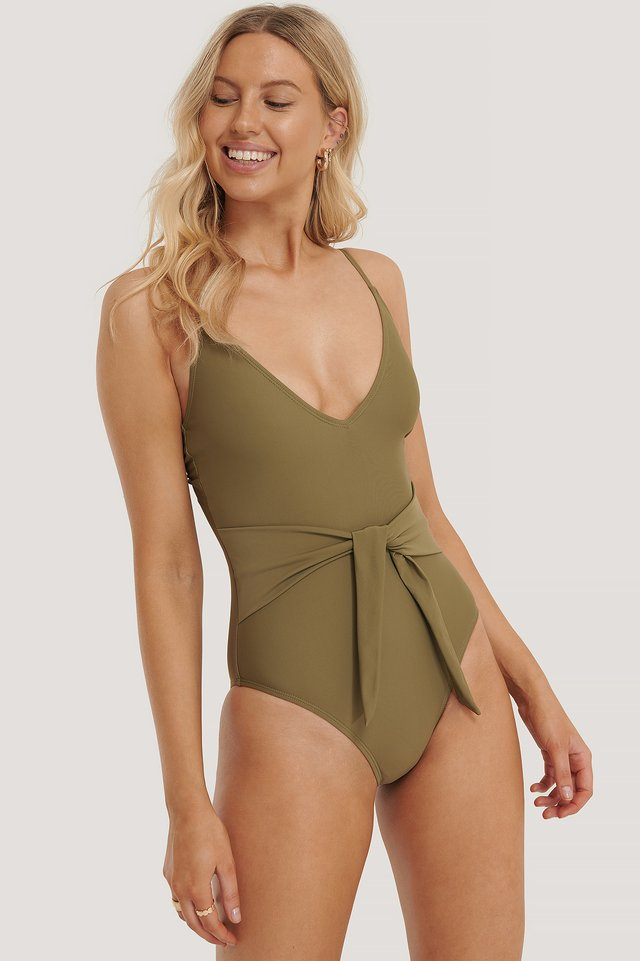 Tied Front Swimsuit Burnt Olive
