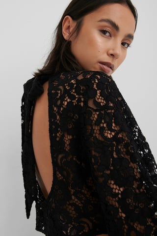 Black Tied Neck Lace Blouse
