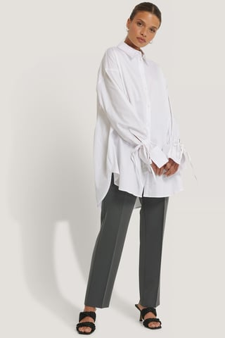 White Recycled Tied Sleeve Shirt