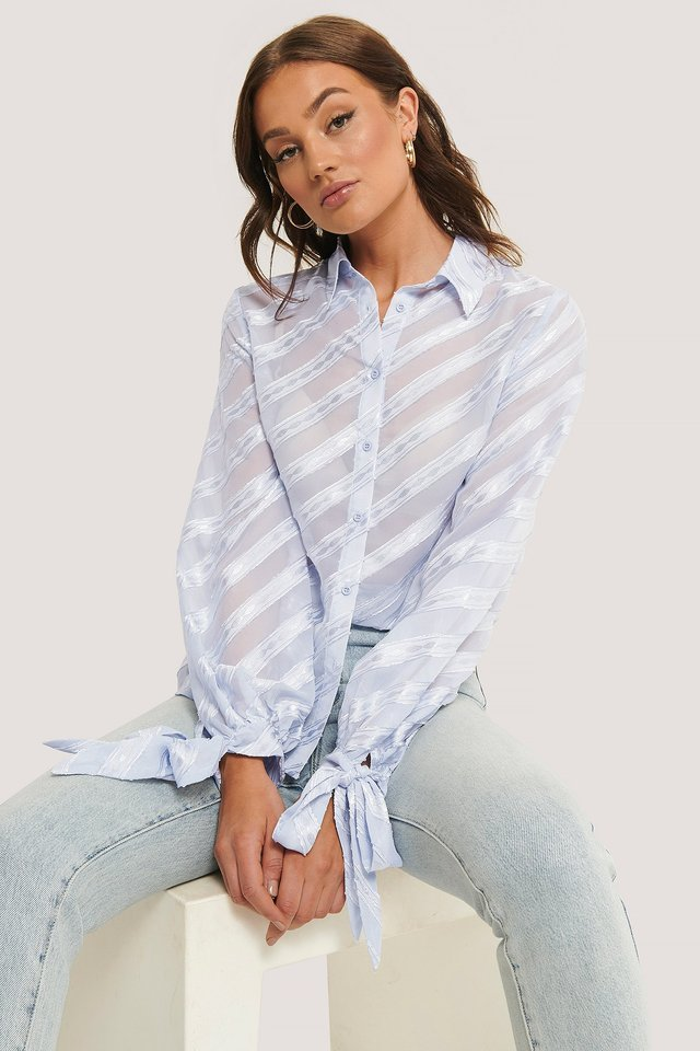 Light Blue Tied Sleeve Striped Blouse