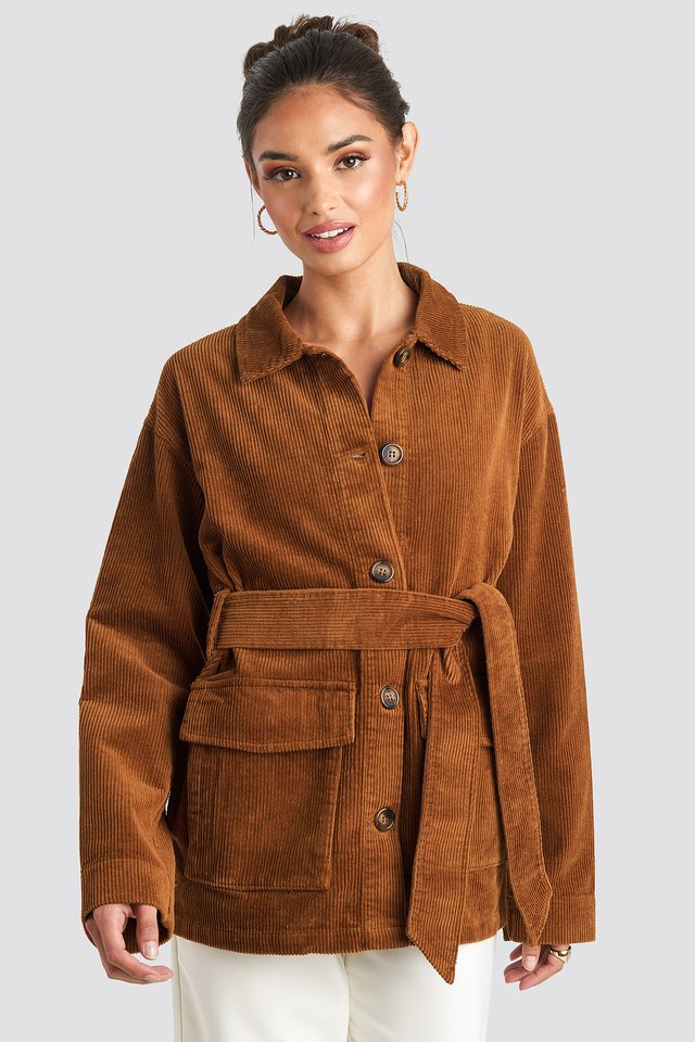 Tied Waist Corduroy Jacket Rust