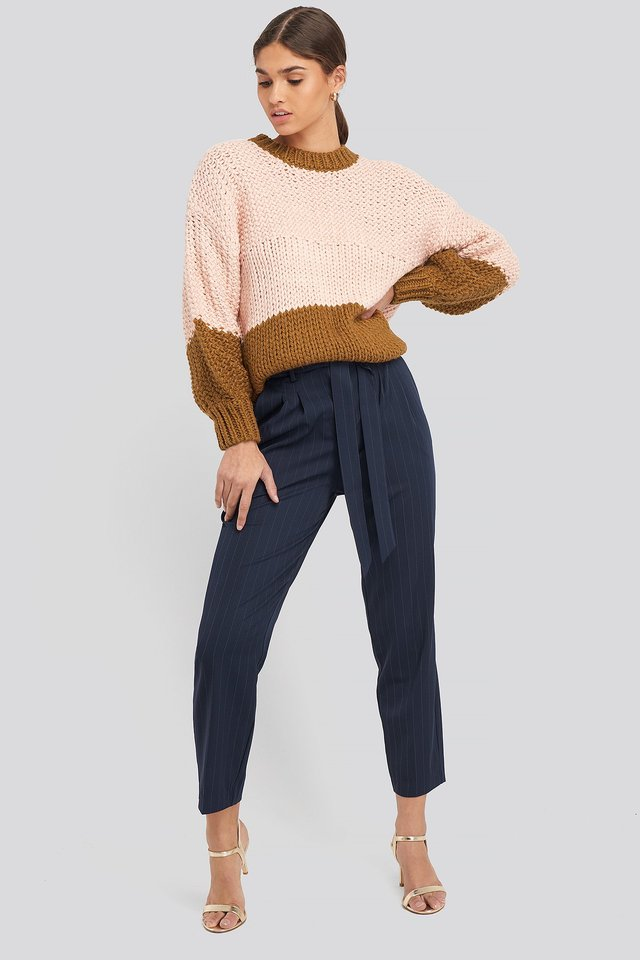 Tied Waist Pinstriped Pants Navy