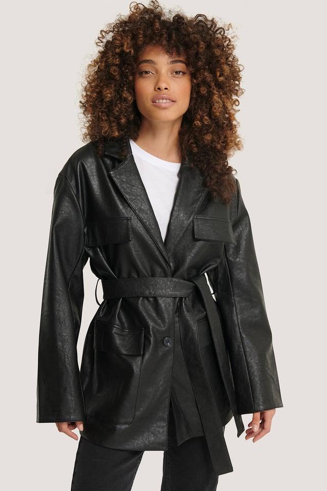 Tied Waist Pu Jacket Black
