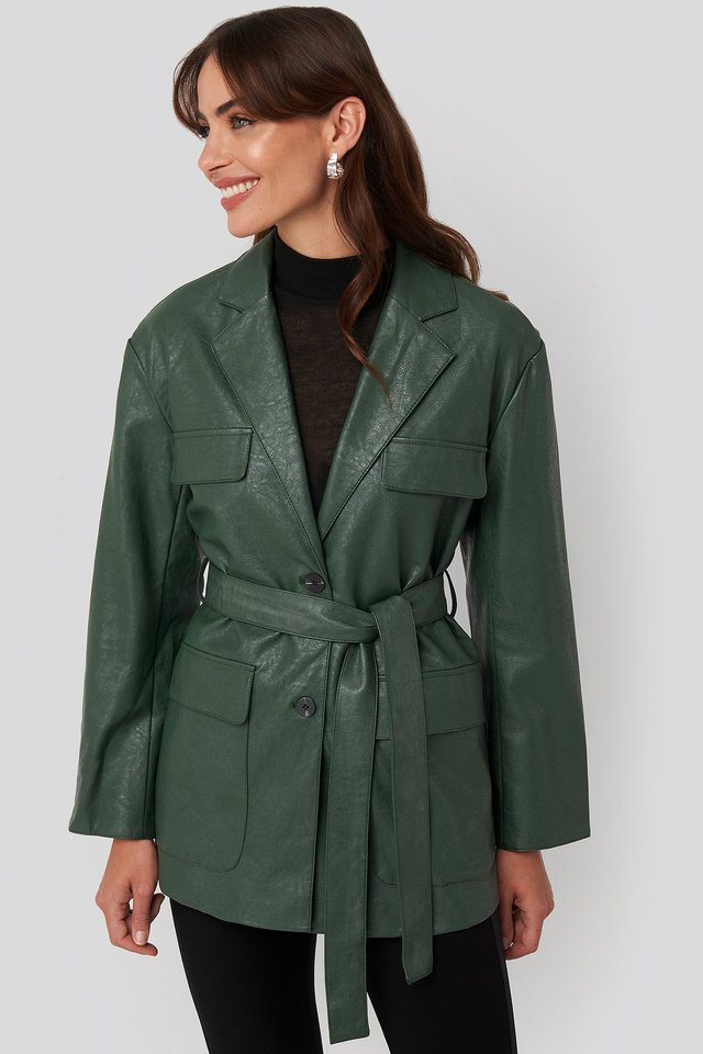Tied Waist Pu Jacket Green