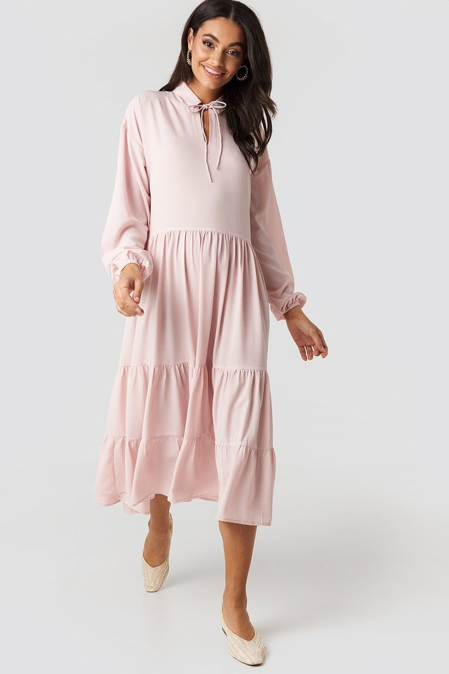 Tiered Detail Balloon Sleeve Dress Dusty Pink