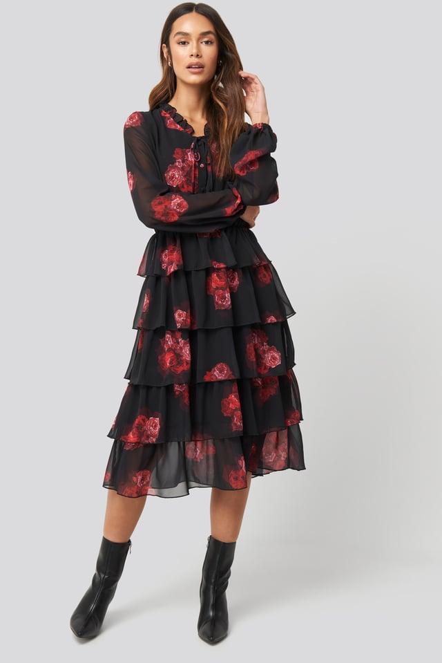 Tiered Flounce Sheer Dress Flower Print