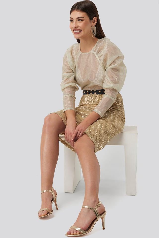 Tight Sequin Midi Skirt Gold