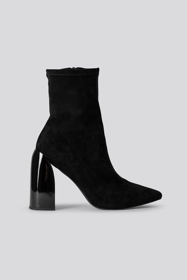 Black Tight Shaft Block Heel Booties