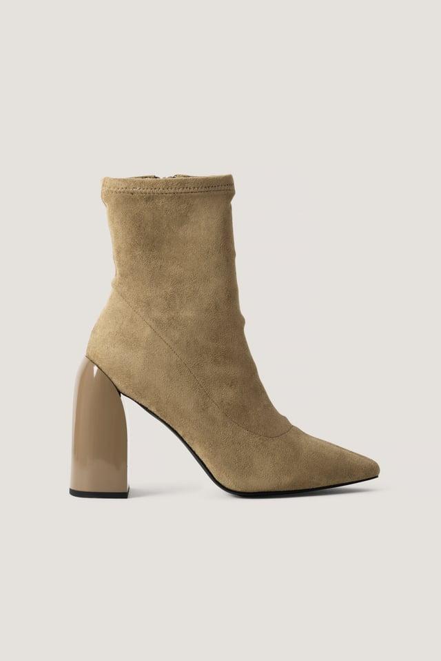 Tight Shaft Block Heel Booties Beige