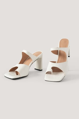 White Toe Detailed Double Strap Sandals