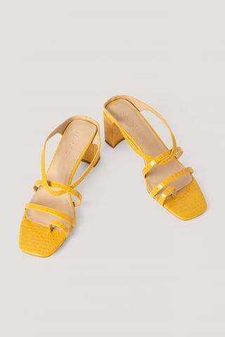 Yellow Sandalen Met Hoge Hakken