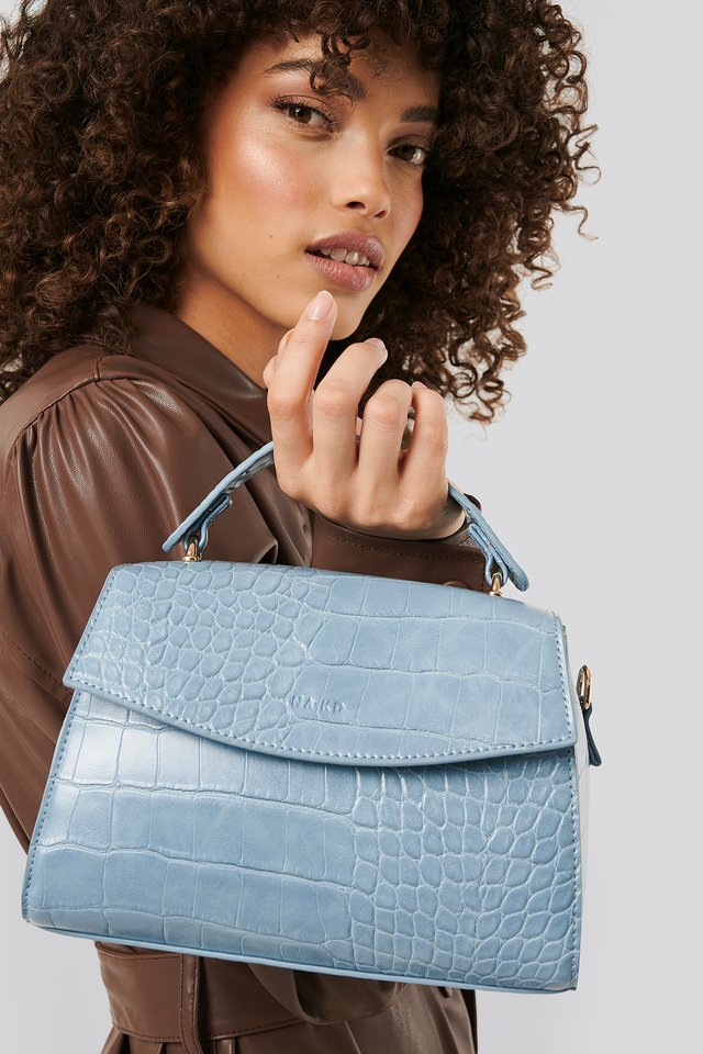 Top Handle Croc Bag Light Blue