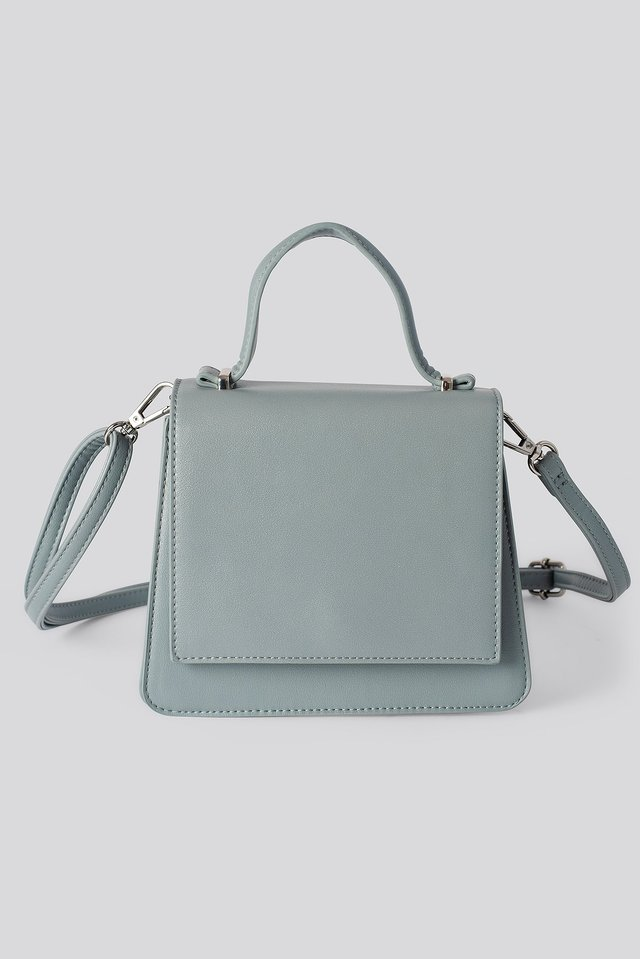 Top Handle Mini Trapeze Bag Stone Blue