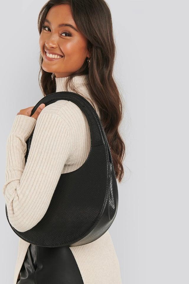 Top Handle Moon Bag Black