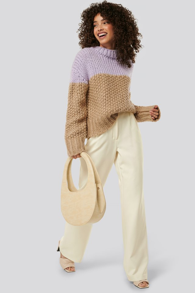 Top Handle Moon Bag Nude