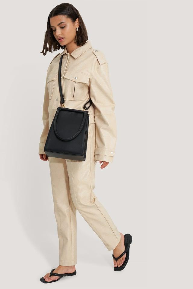 Top Handle Trapeze Bag Black
