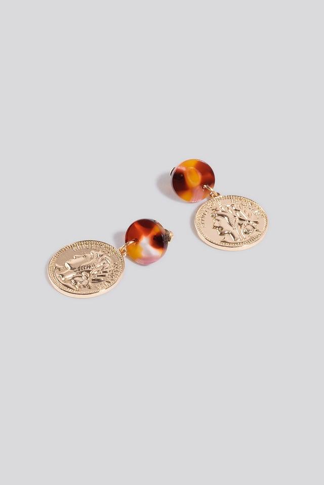 Tortoise Coin Earrings Gold