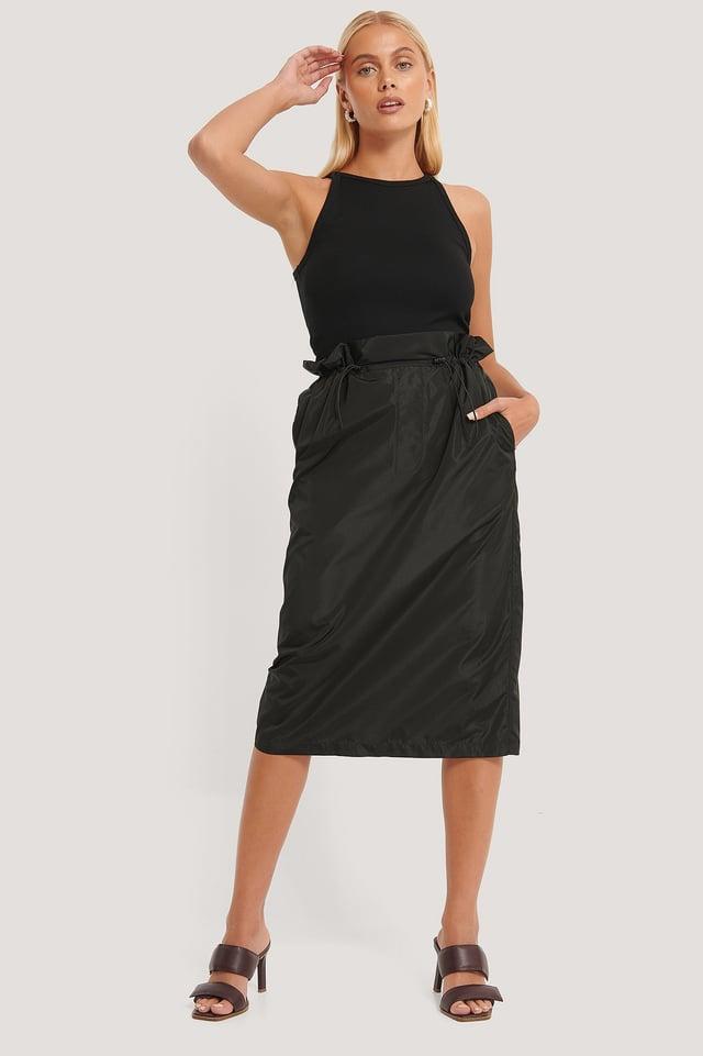 Track Drawstring Skirt Black
