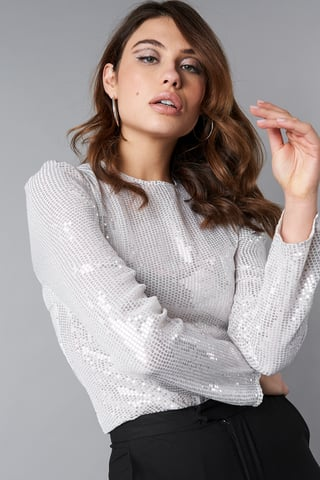 Silver Transparent Sequins LS Top